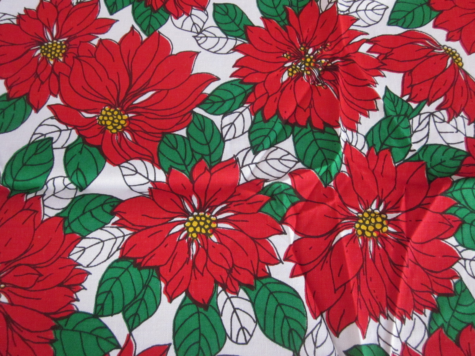 Christmas Poinsettia Covered MWT Vintage Printed Tablecloth (52 X 50)