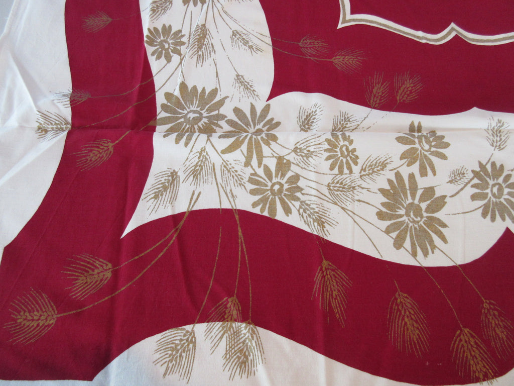 Golden Wheat Daisies on Magenta Floral Vintage Printed Tablecloth (60 X 51)