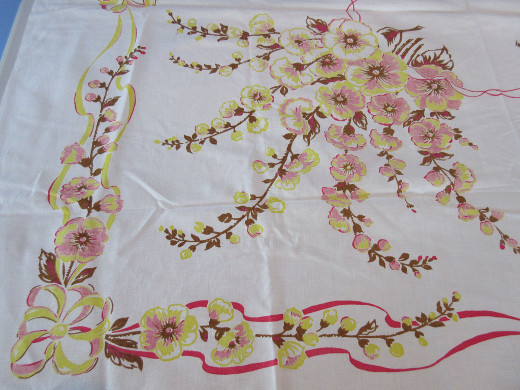 Early Hollyhocks and Ribbons Yellow Brown Floral Vintage Printed Tablecloth (53 X 47)