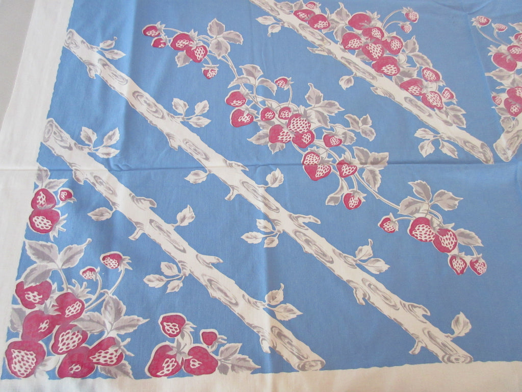 Faded Shabby Strawberries on Blue Fruit Vintage Printed Tablecloth (47 X 46)