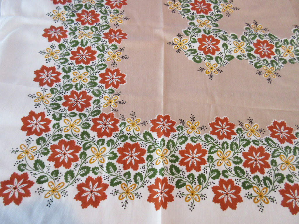 60s Mod Flowers on Tan Floral Vintage Printed Tablecloth (51 X 46)