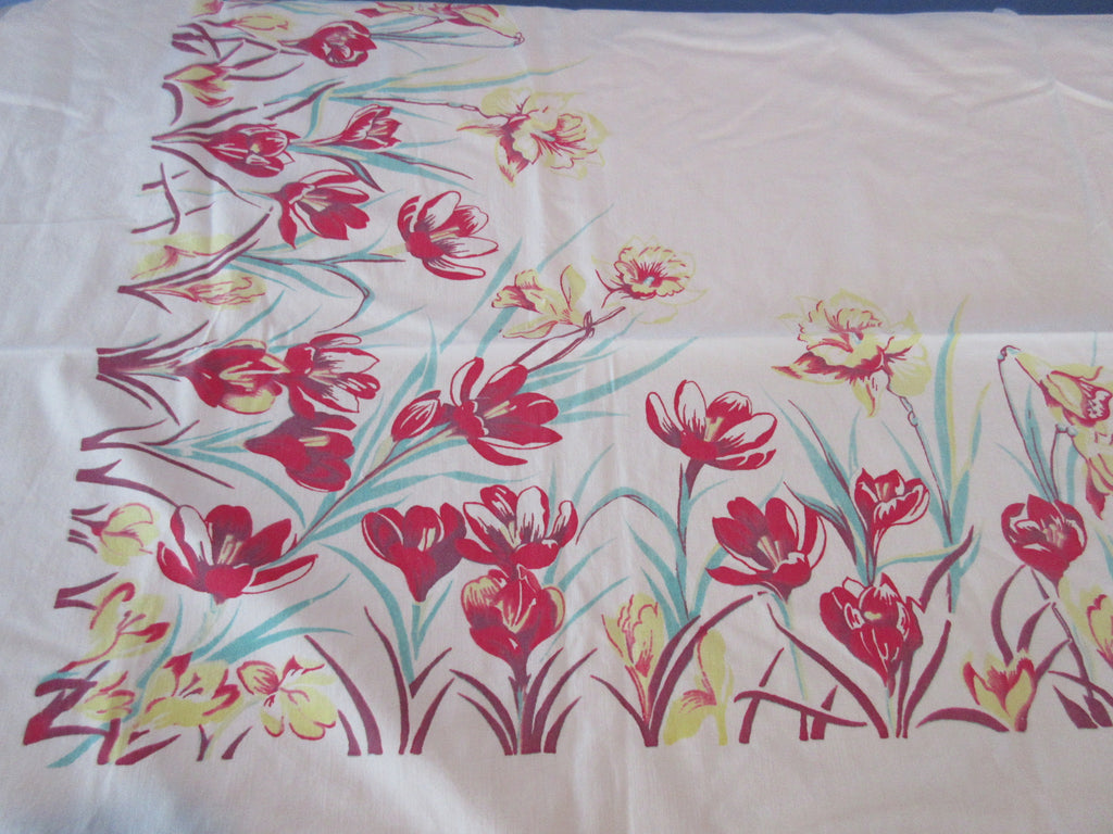 Faded Crocuses Daffodils Yellow Green Red Floral Vintage Printed Tablecloth (52 X 46)