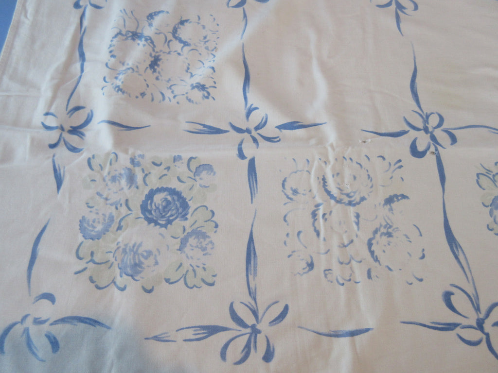 Very Faded Clover Ribbons CUTTER Floral Vintage Printed Tablecloth (62 X 48)