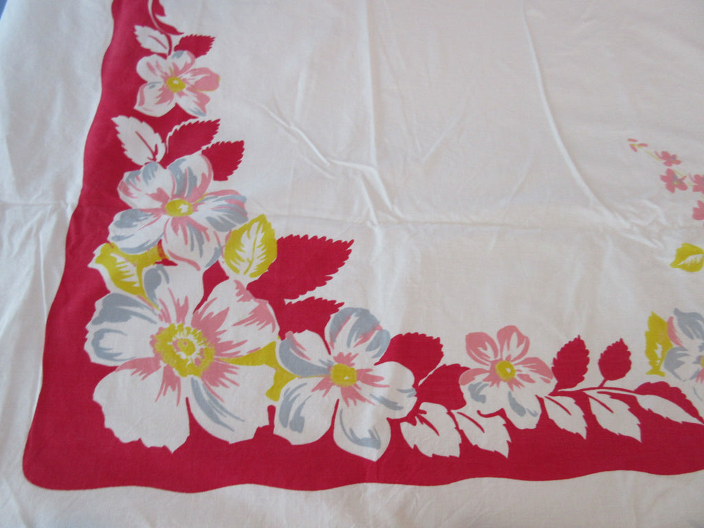 Large Pastel Flowers on Red Sheeting Floral Vintage Printed Tablecloth (72 X 56)