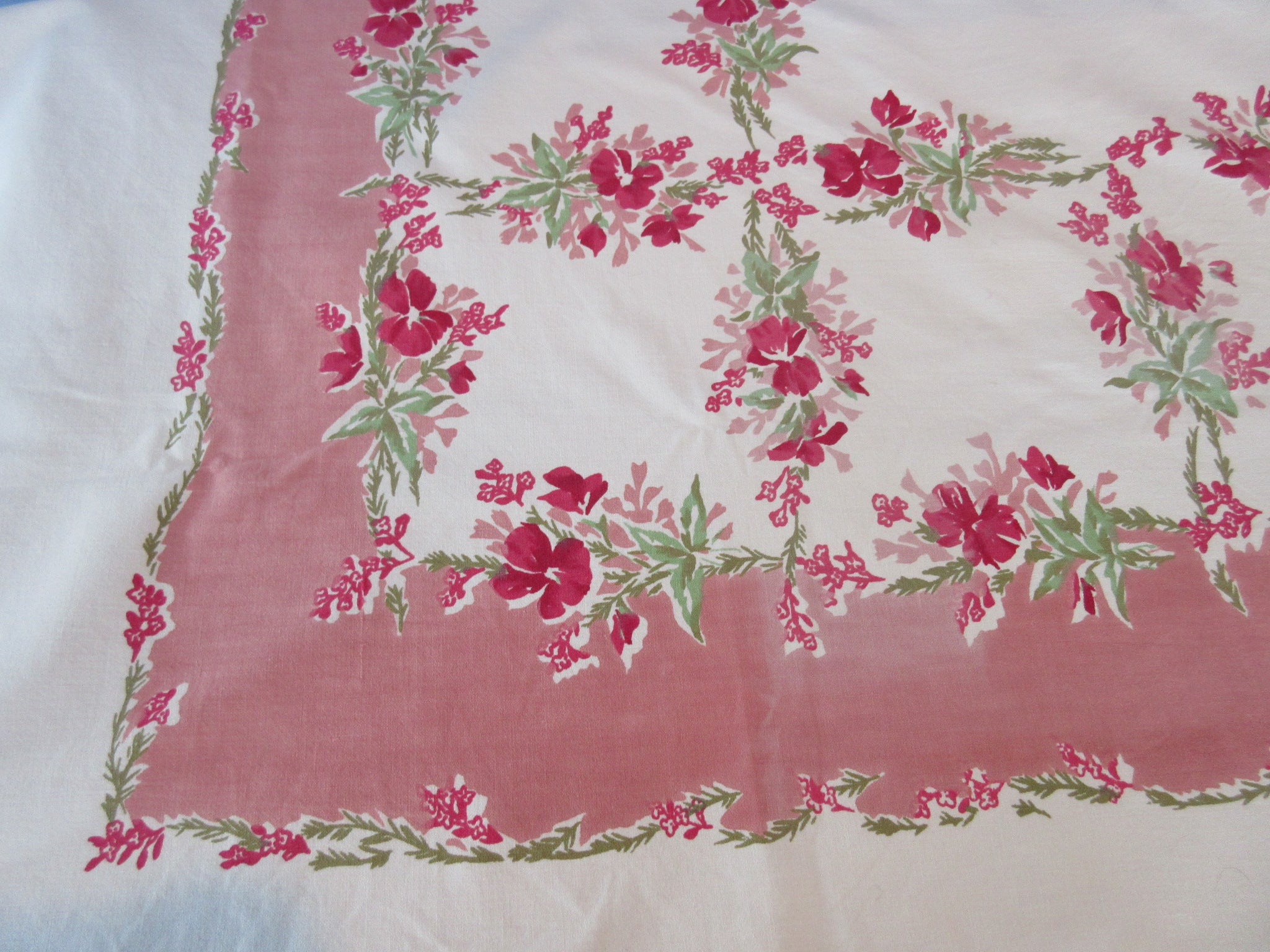 Pink Green Violas on Pink Floral Vintage Printed Tablecloth (70 X 54)