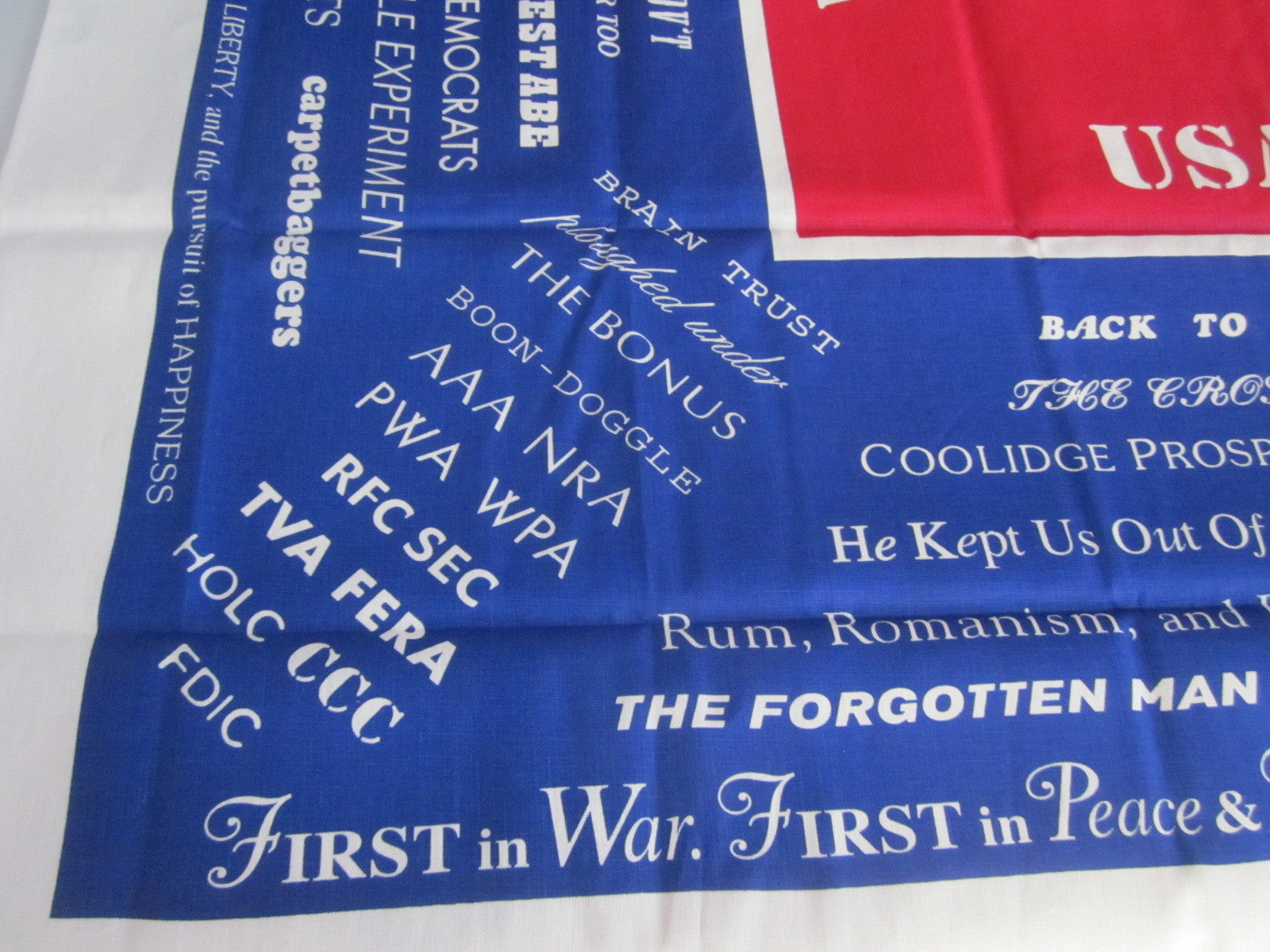 Limited Edition Political Slogans Reproduction Novelty Printed Tablecloth