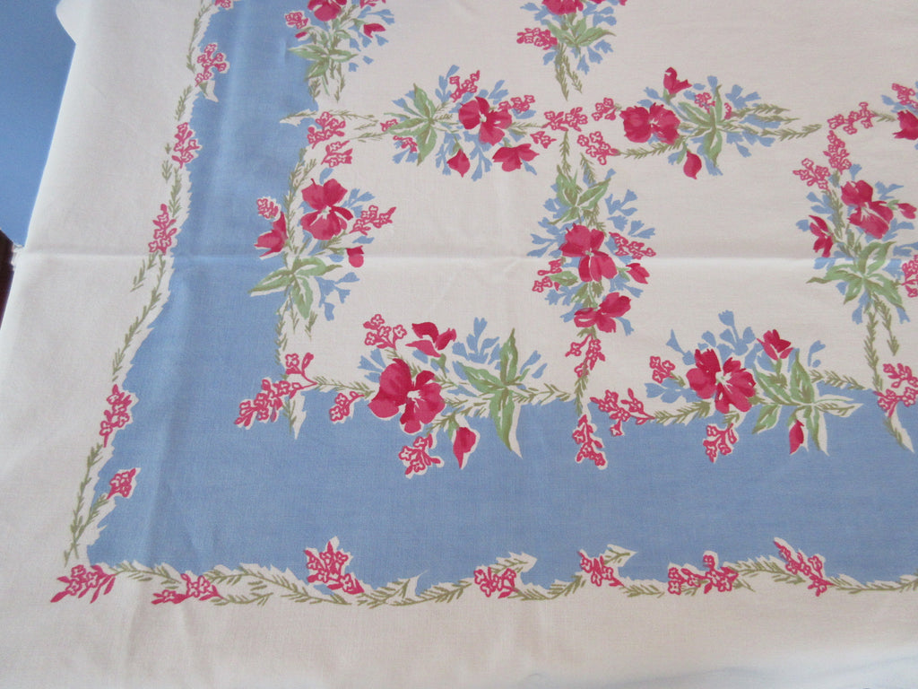 Pink Green Violas on Blue Floral Vintage Printed Tablecloth (68 X 54)