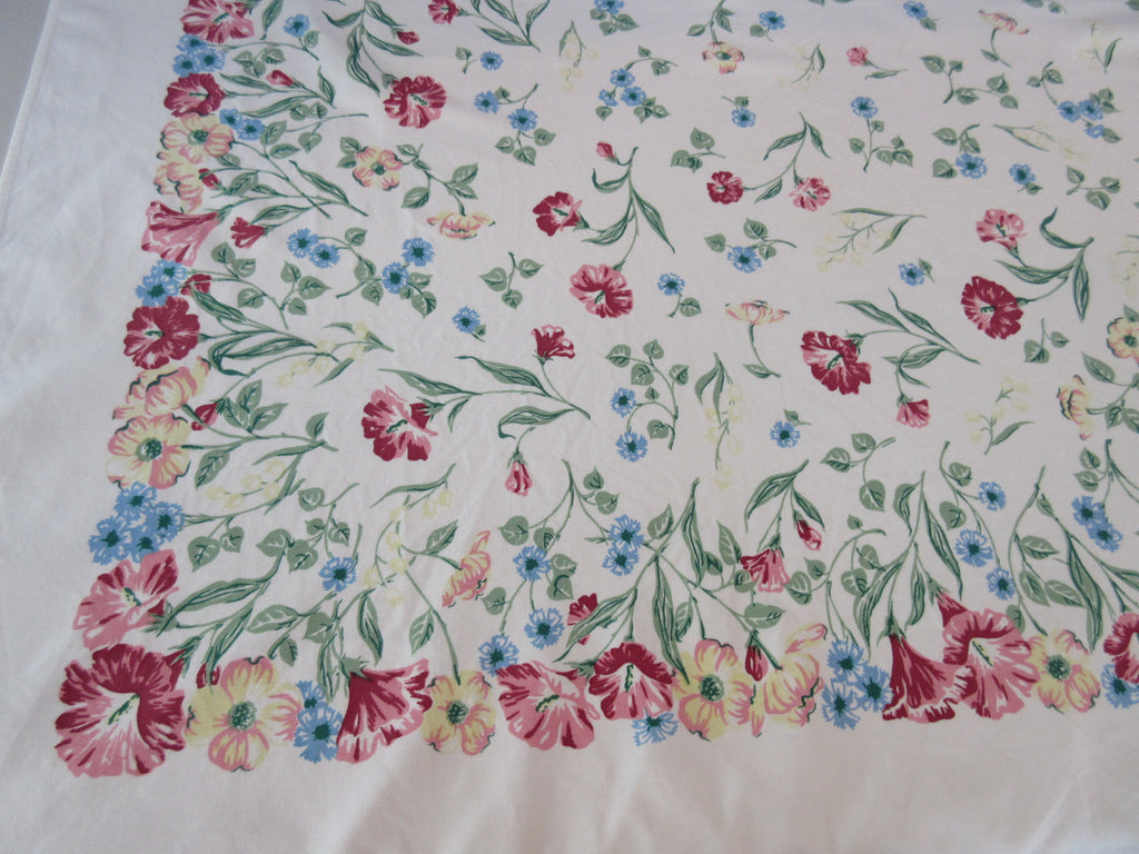 Spring Garden Pastel Morning Glories Floral Vintage Printed Tablecloth (64 X 52)