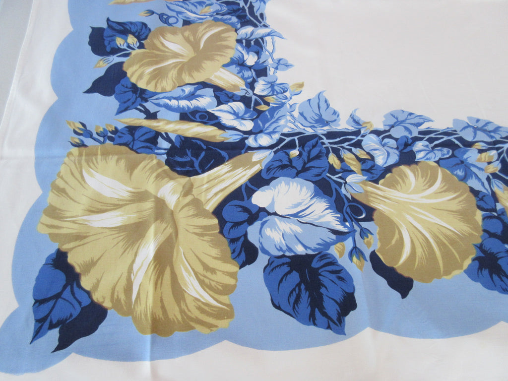 CHP Golden Moonflower Morning Glories on Blue Floral Vintage Printed Tablecloth (51 X 46)