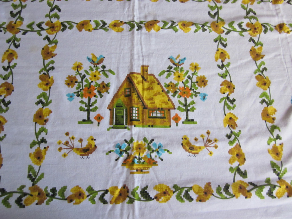 Cross Stitch Yellow Colonial Novelty Vintage Printed Tablecloth (50 X 48)