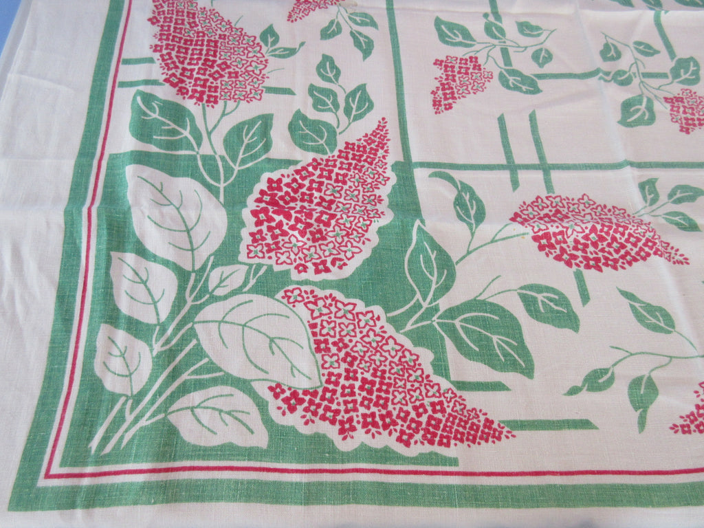 Red Green Lilacs Linen Cutter? Floral Vintage Printed Tablecloth (50 X 48)