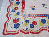 Calico Quilt Oranges Flowers and Bows Broderie? Fruit Vintage Printed Tablecloth (50 X 49)