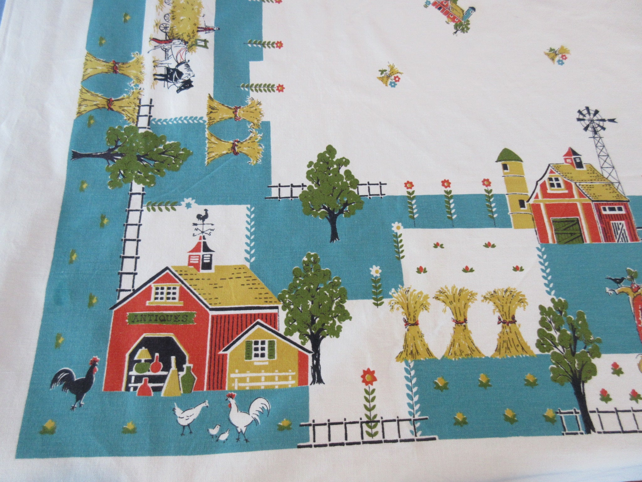 Fun Farm on Teal Novelty Vintage Printed Tablecloth (64 X 53)