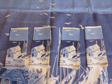 Rare 30s Linen Fishing Napkins Novelty Vintage Printed Tablecloth (35 X 35)