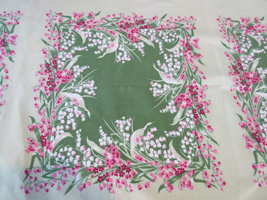 Calaprint Pink Green Lily of the Valley Floral Vintage Printed Tablecloth (65 X 45)