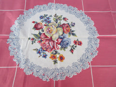 Painted Pastel Roses on Pink MWT Floral Vintage Printed Tablecloth (52 X 51)