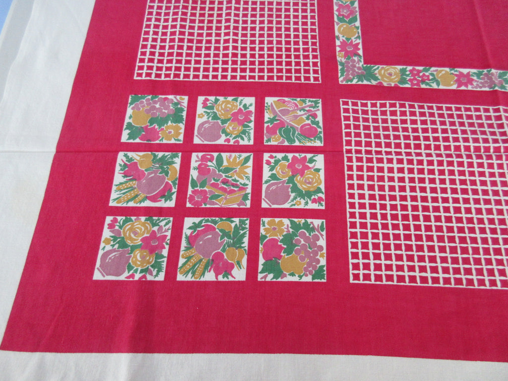 Shabby Fruit Squares on White Grid Vintage Printed Tablecloth (48 X 46)