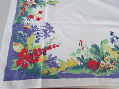 Rare Wilendur Tropical Floral Palm Trees Cutter? Vintage Printed Tablecloth (52 X 48)