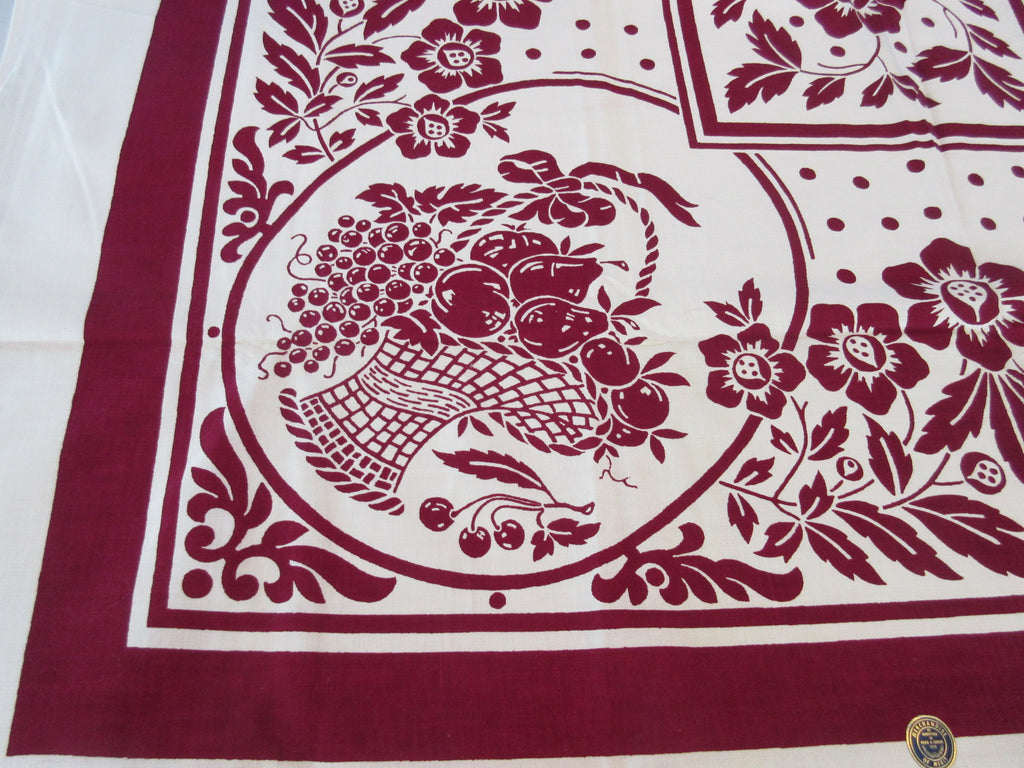 Magenta Grapes Fruit Basket MWT Vintage Printed Tablecloth (52 X 51)