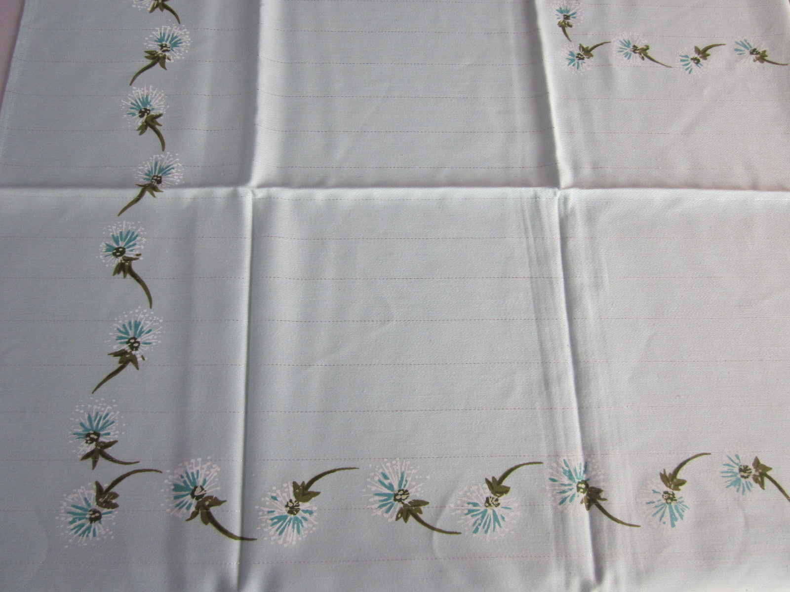 Dandelions on Aqua Silver Floral MWT Vintage Printed Tablecloth (52 X 52)