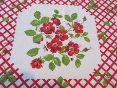Marlene Linens Wild Roses on Red CUTTER Vintage Printed Tablecloth (68 X 50)