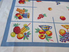 Primary Cocktails and Fruit on French Blue Novelty Vintage Printed Tablecloth (52 X 48)