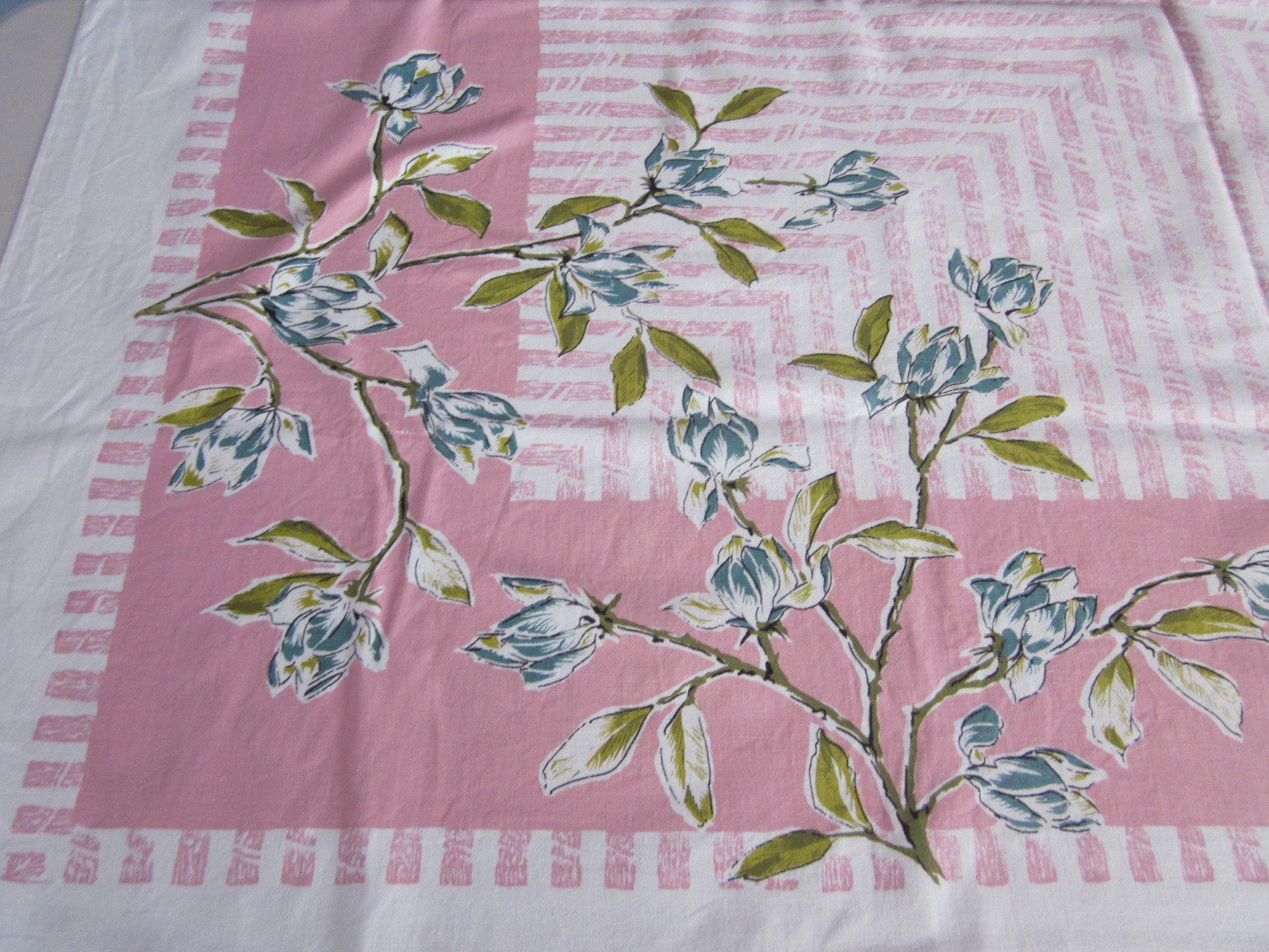 Teal Magnolias on Pink Stripes Floral Vintage Printed Tablecloth (53 X 47)