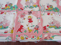 Damaged Rare Pink Enid Blyton Children's Illustrations Novelty Vintage Printed Tablecloth (36 X 36)