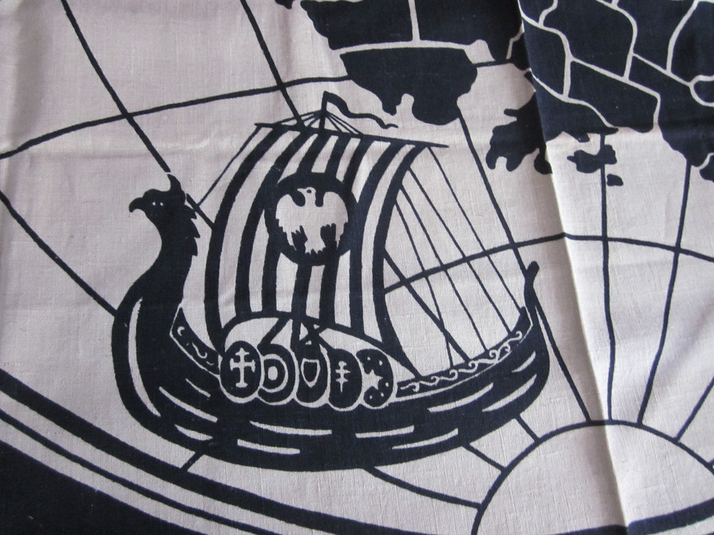 1930s World Map Black Linen Novelty Vintage Printed Tablecloth (51 X 51)