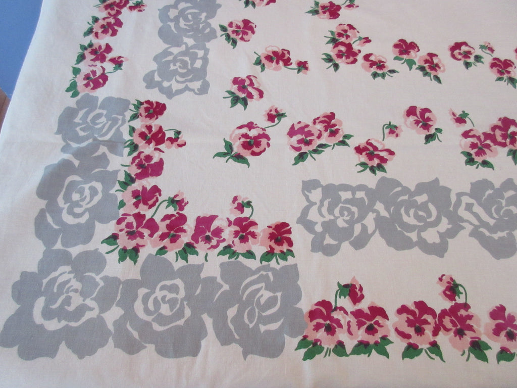 Pink Magenta Pansies on Gray Pansy Border Floral Vintage Printed Tablecloth (65 X 50)