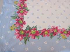 Pink Poppies on Blue America's Pride? Floral Vintage Printed Tablecloth (50 X 46)