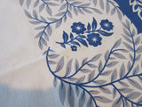 Larger Blue Gray Vining Floral Vintage Printed Tablecloth (93 X 56)