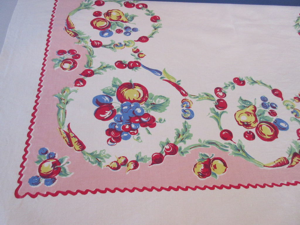 Fabulous Smaller Primary Fruit Circles Rickrack on Pink Vintage Printed Tablecloth (44 X 40)
