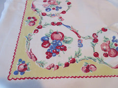 Fabulous Smaller Primary Fruit Circles Rickrack on Yellow Vintage Printed Tablecloth (44 X 41)