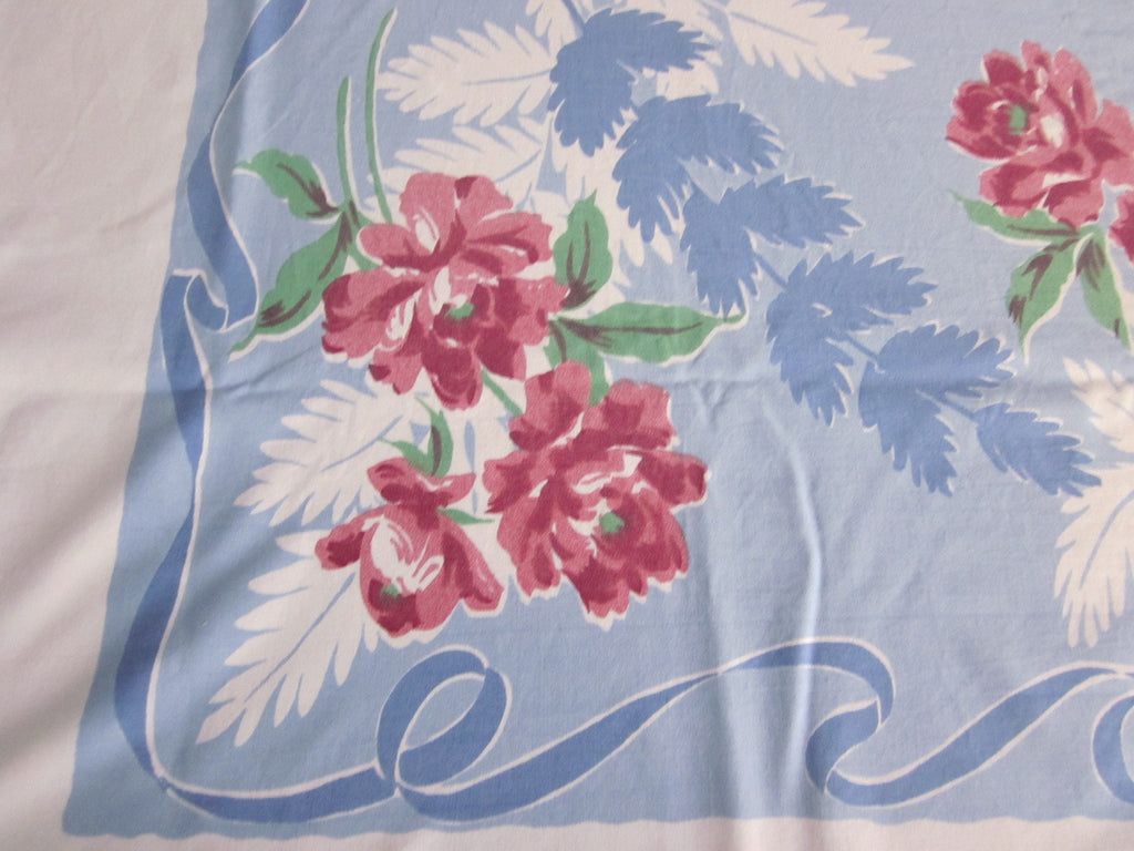 Larger Pink Green Peonies on Blue Floral Vintage Printed Tablecloth (67 X 61)
