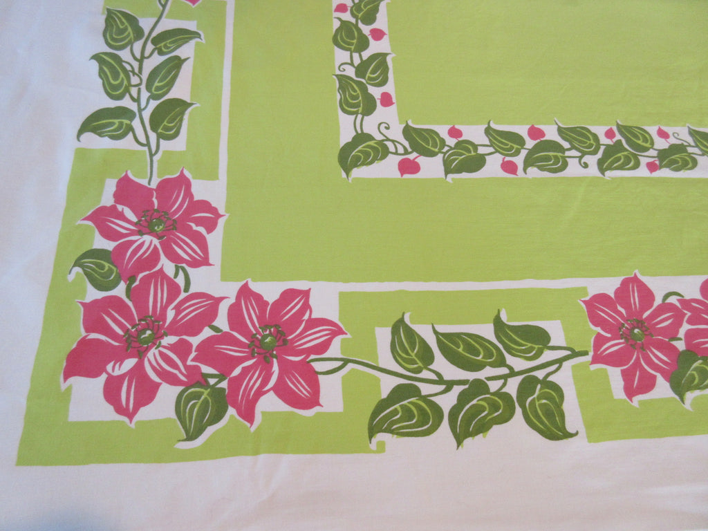 Pink Clematis on Lime Green Floral Vintage Printed Tablecloth (66 X 50)