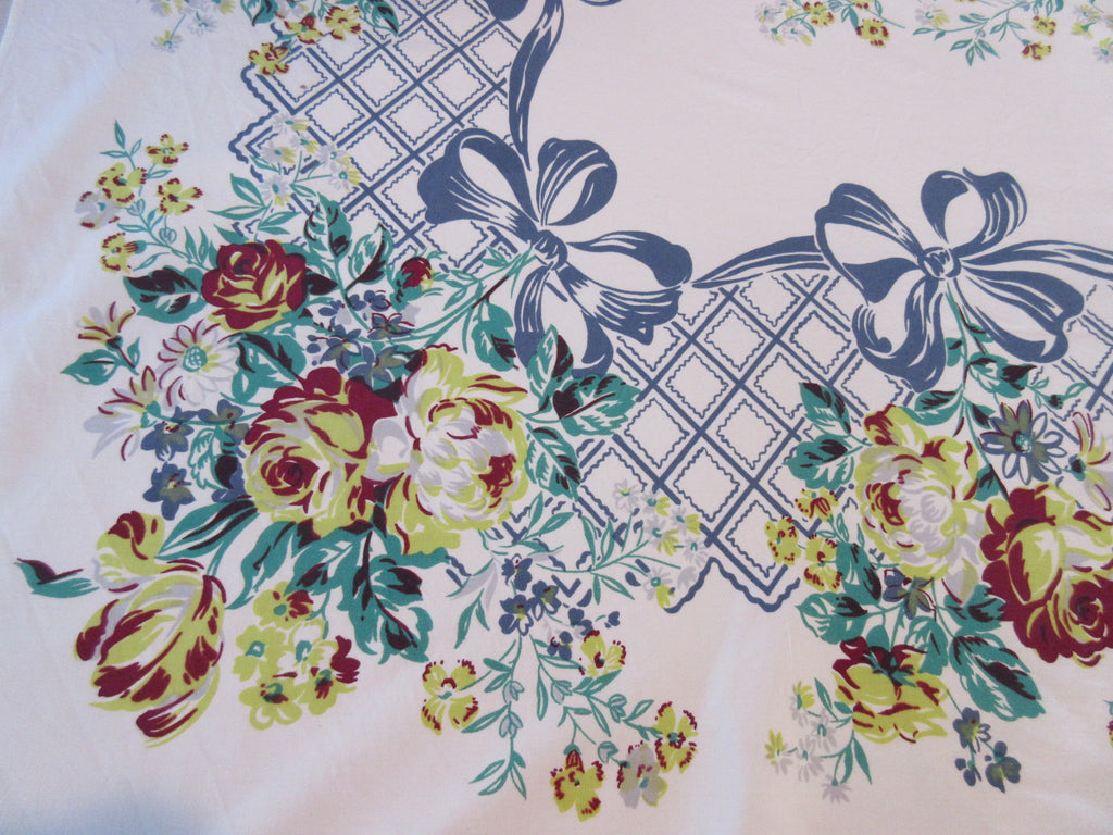 Yellow Magenta Roses Blue Ribbons Floral Vintage Printed Tablecloth (61 X 50)