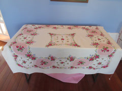 Romantic Red Roses on Pink Floral Vintage Printed Tablecloth (51 X 46)