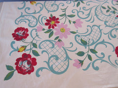 Pink Red Roses Flowers on Turquoise Paisley Floral Vintage Printed Tablecloth (65 X 50)