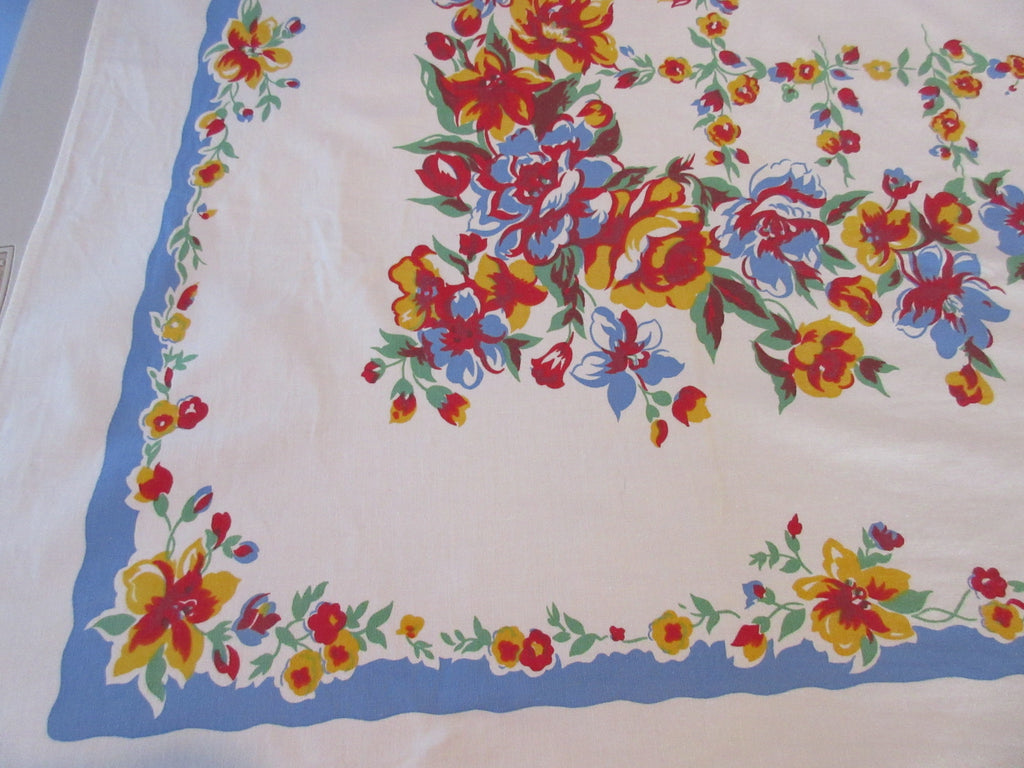 Primary Red Yellow Flowers on French Blue Floral Vintage Printed Tablecloth (62 X 49)