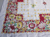 Red Yellow Green Floral Vintage Printed Tablecloth (48 X 48)