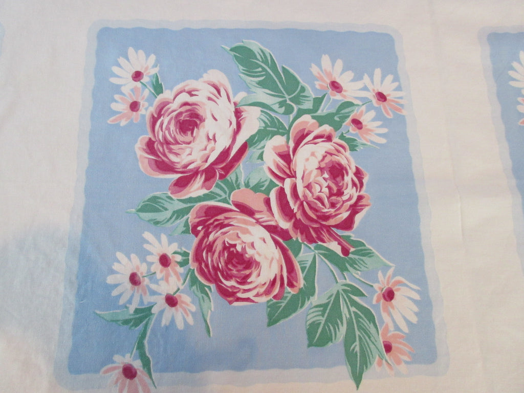 Wilendur Pink Green Peonies on Blue Squares Floral Vintage Printed Tablecloth (66 X 53)