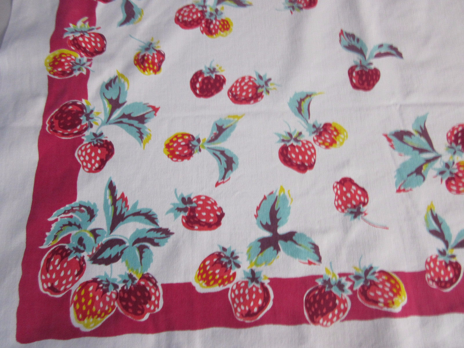 Wilendur Red Green Strawberry Cutter? Fruit Vintage Printed Tablecloth (52 X 48)