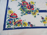 Red Roses Yellow Daisies on Cobalt Blue Floral Vintage Printed Tablecloth (52 X 48)