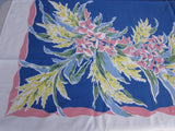 Pink Yellow Green Hibiscus on Blue Floral Vintage Printed Tablecloth (61 X 52)