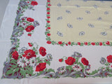 Red Poppies on Yellow Parisian Prints Floral Vintage Printed Tablecloth (52 X 45)