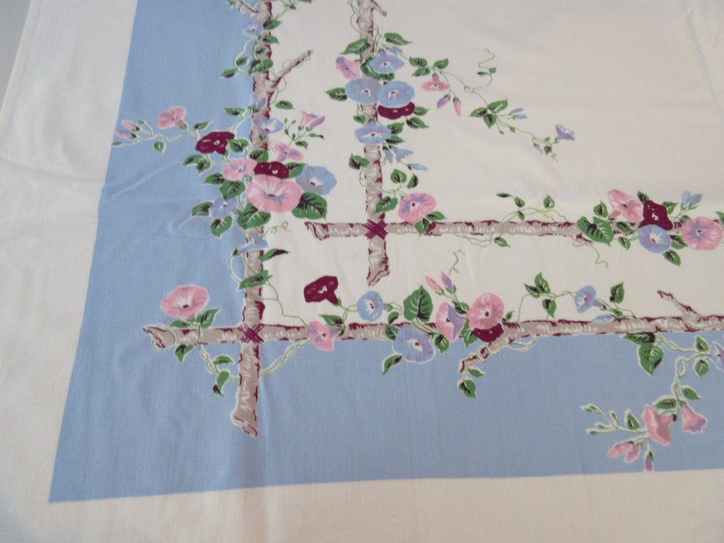 Pink Morning Glories on Blue Floral Vintage Printed Tablecloth (52 X 46)