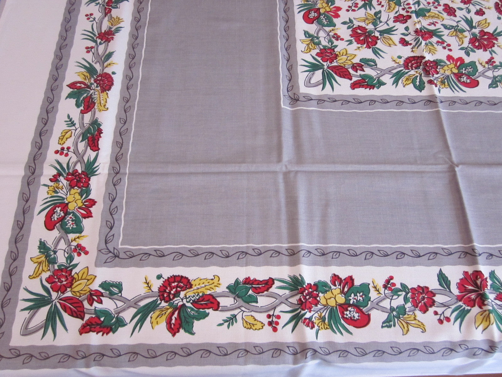 Red Yellow Green Floral on Gray MWT Vintage Printed Tablecloth (51 X 51)