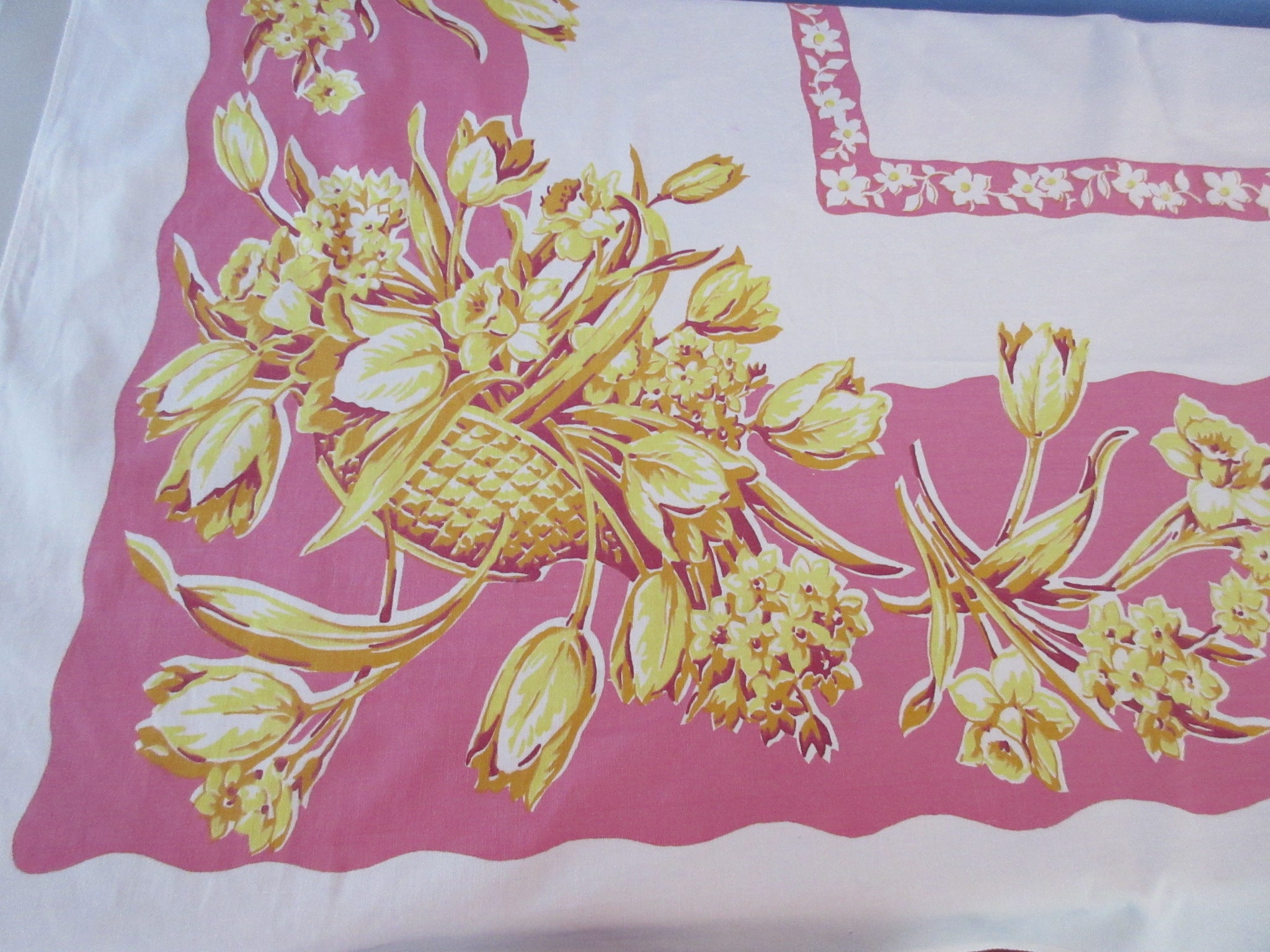 Yellow Tulips Daffodils on Pink Floral Vintage Printed Tablecloth (59 X 52)