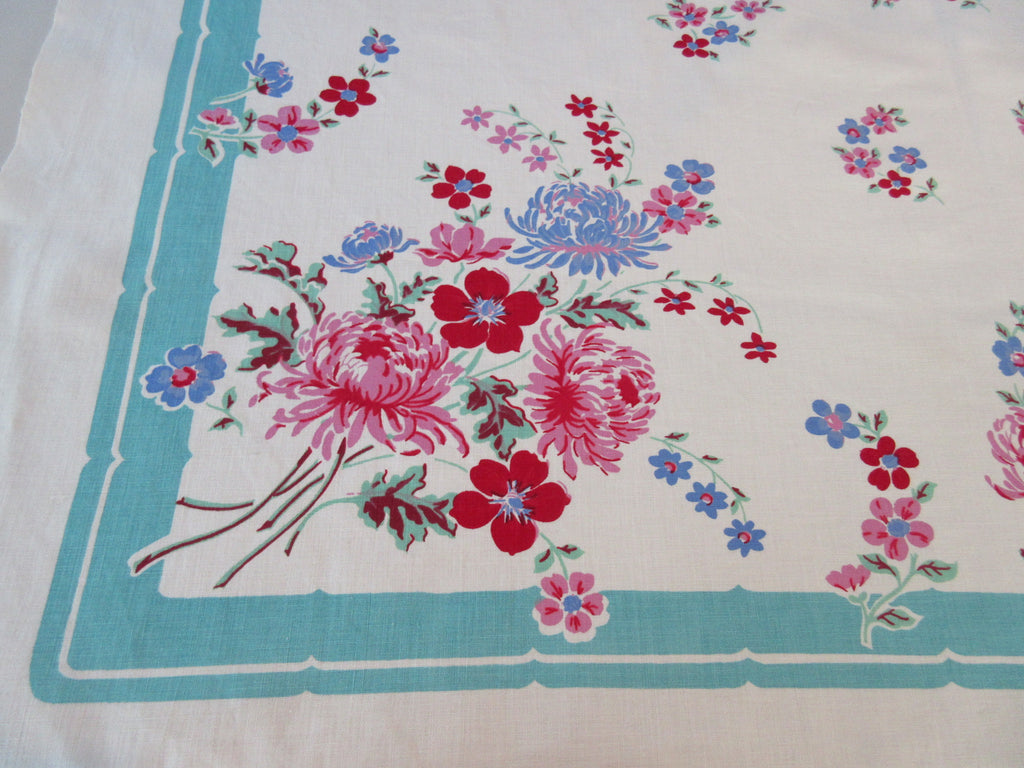 Stunning Pink Pastel Chrysanthemums on Aqua Floral Vintage Printed Tablecloth (52 X 48)